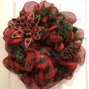 Other - Buffalo Red Plaid Christmas Winter Wreath 😍